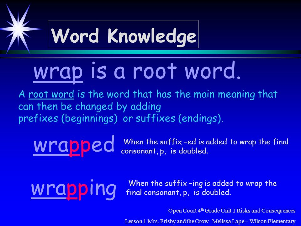 wrap is a root word. wrapped wrapping Word Knowledge