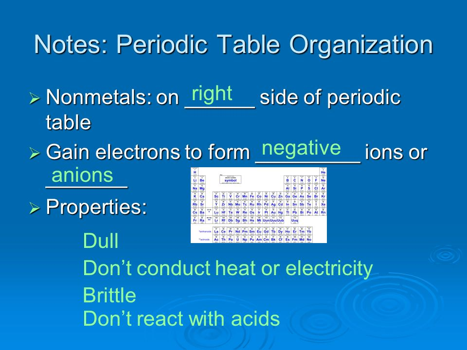 Notes: Periodic Table Organization