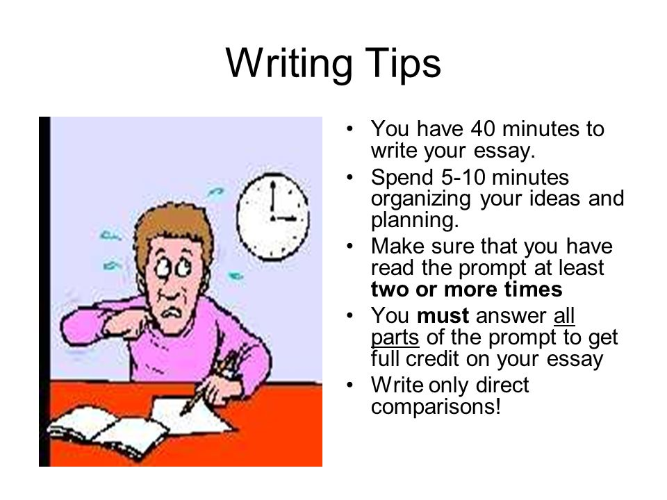 Writing Tips You have 40 minutes to write your essay.