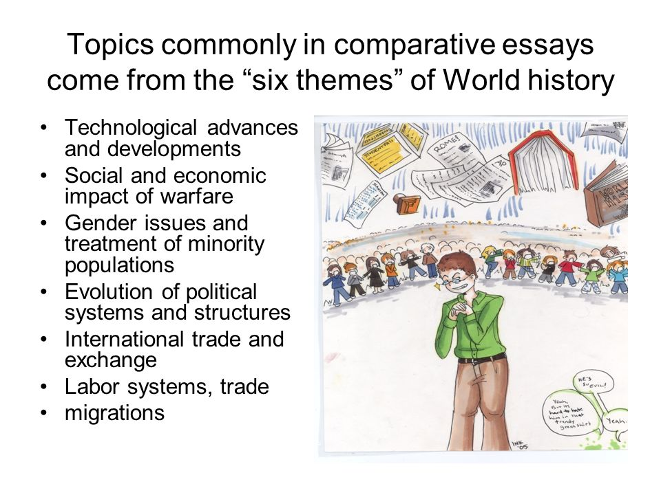 writing the comparative essay ppt video online  topics commonly in comparative essays come from the six themes of world history