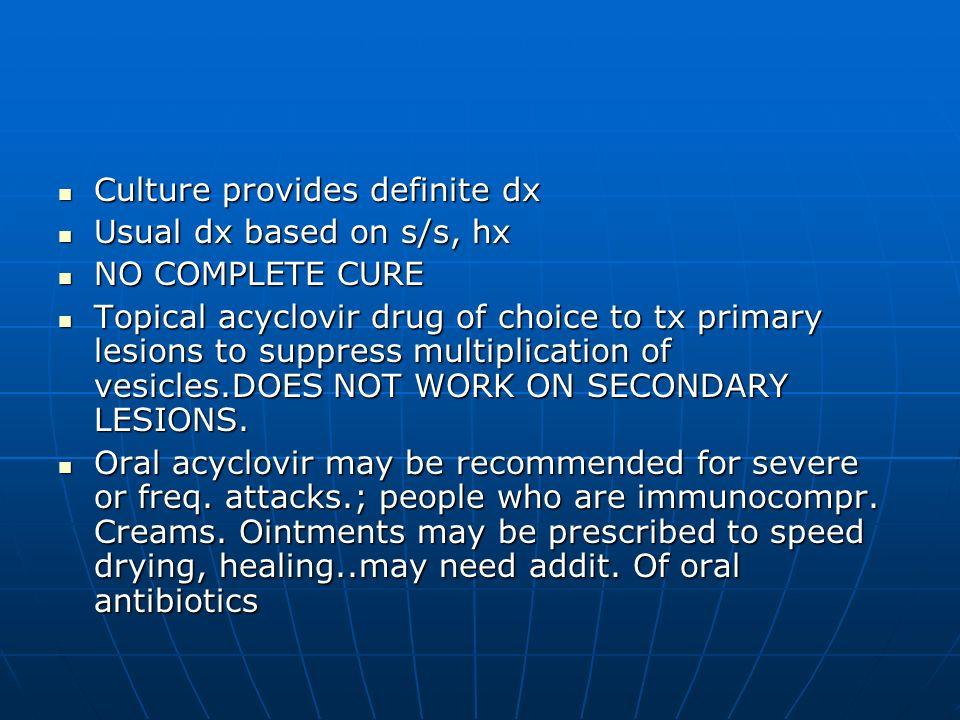 Culture provides definite dx