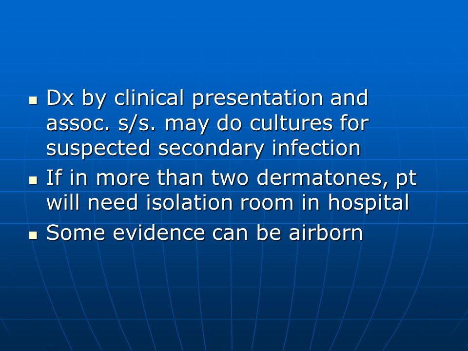Dx by clinical presentation and assoc. s/s