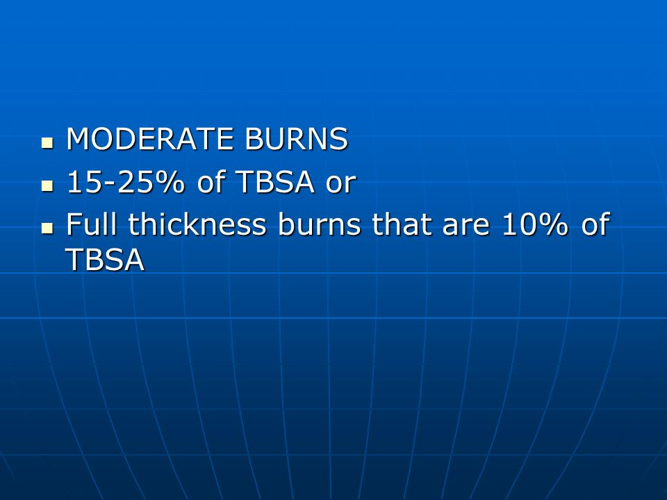 MODERATE BURNS 15-25% of TBSA or Full thickness burns that are 10% of TBSA