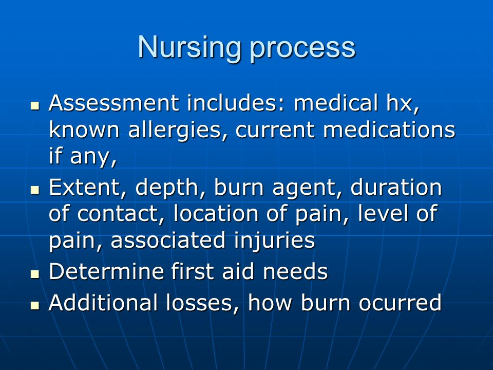 Nursing process Assessment includes: medical hx, known allergies, current medications if any,