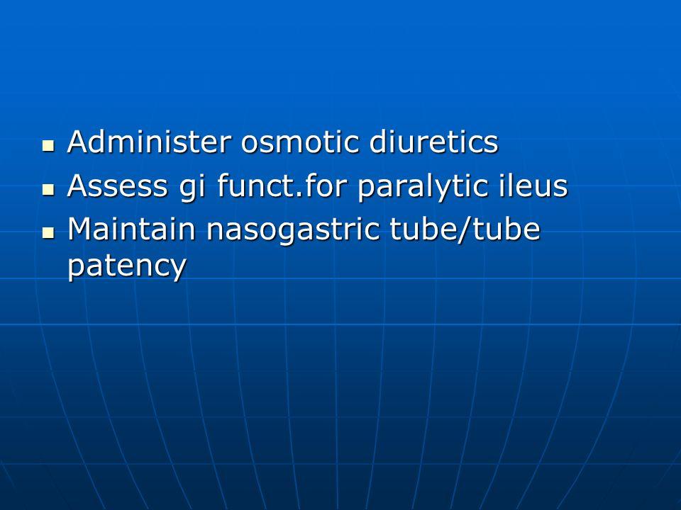 Administer osmotic diuretics