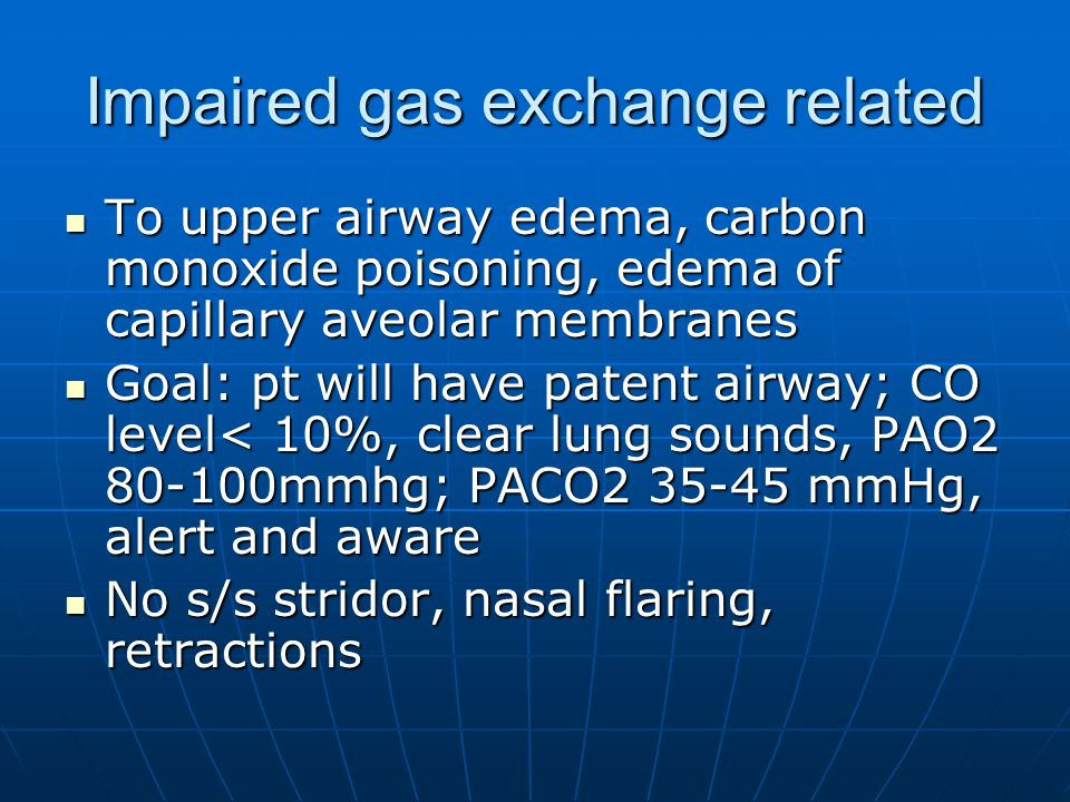 Impaired gas exchange related