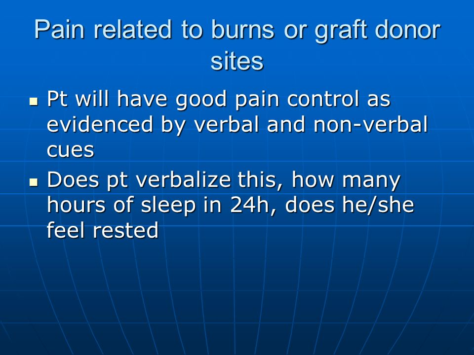 Pain related to burns or graft donor sites