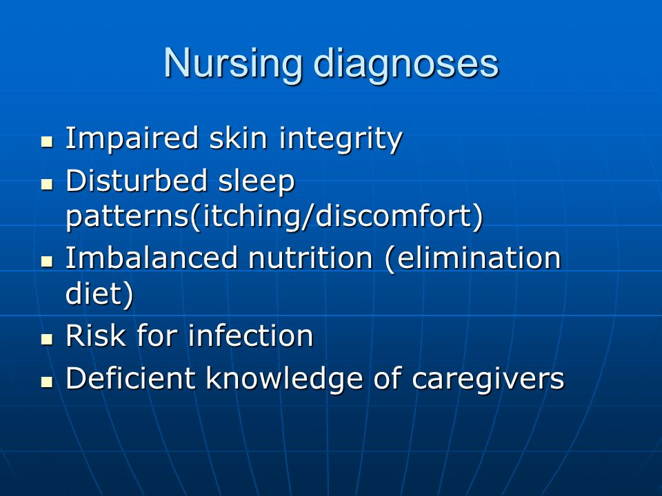 Nursing diagnoses Impaired skin integrity