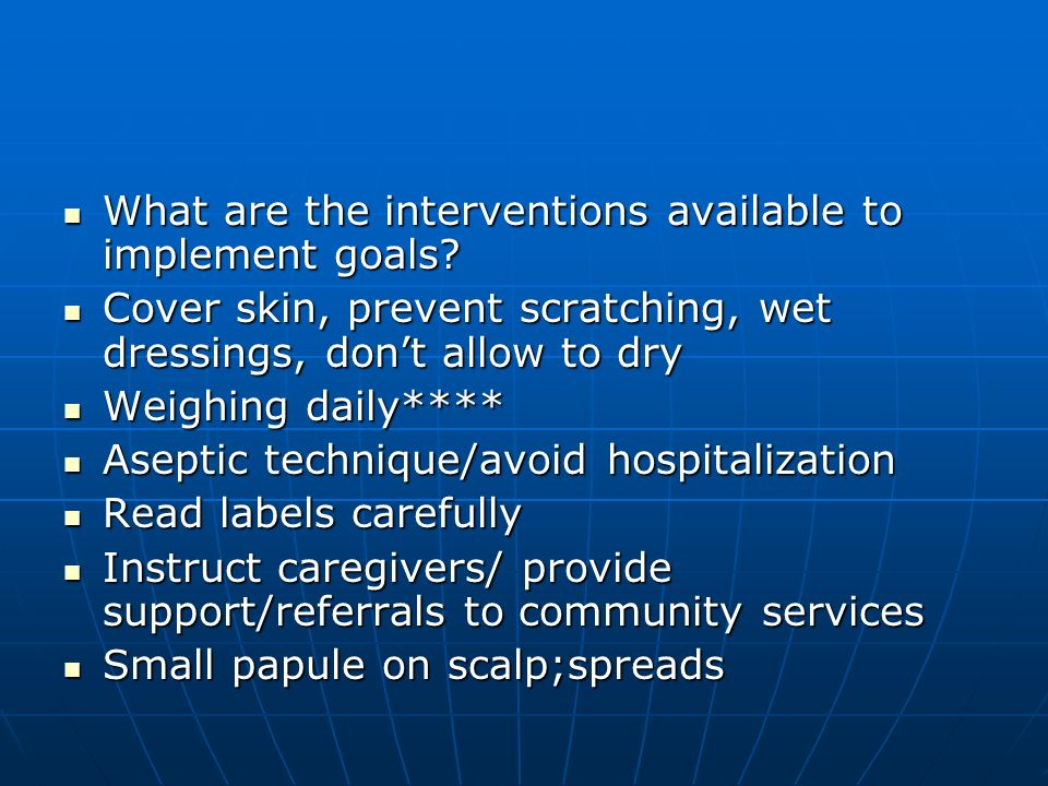 What are the interventions available to implement goals