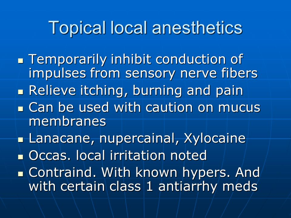 Topical local anesthetics