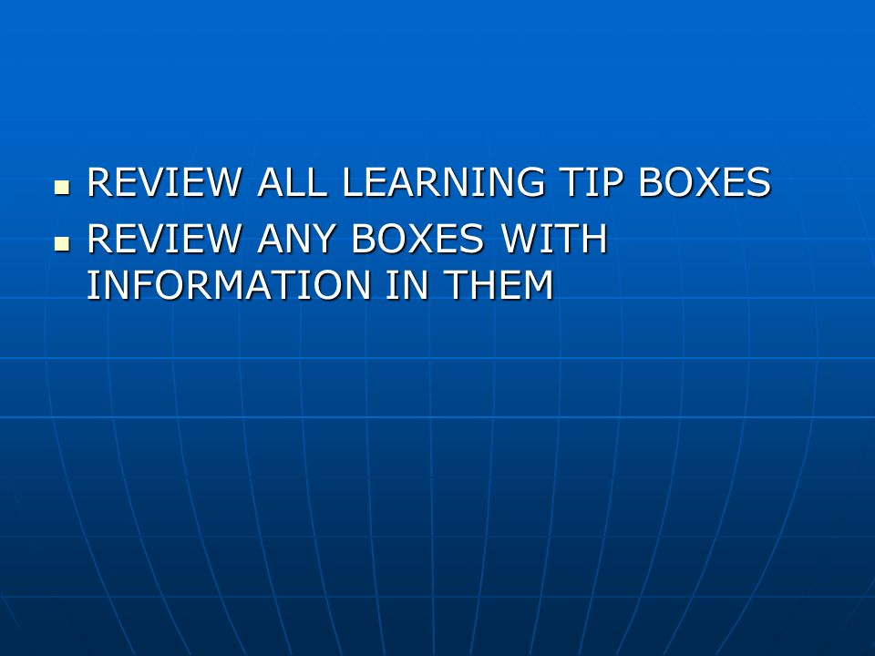 REVIEW ALL LEARNING TIP BOXES