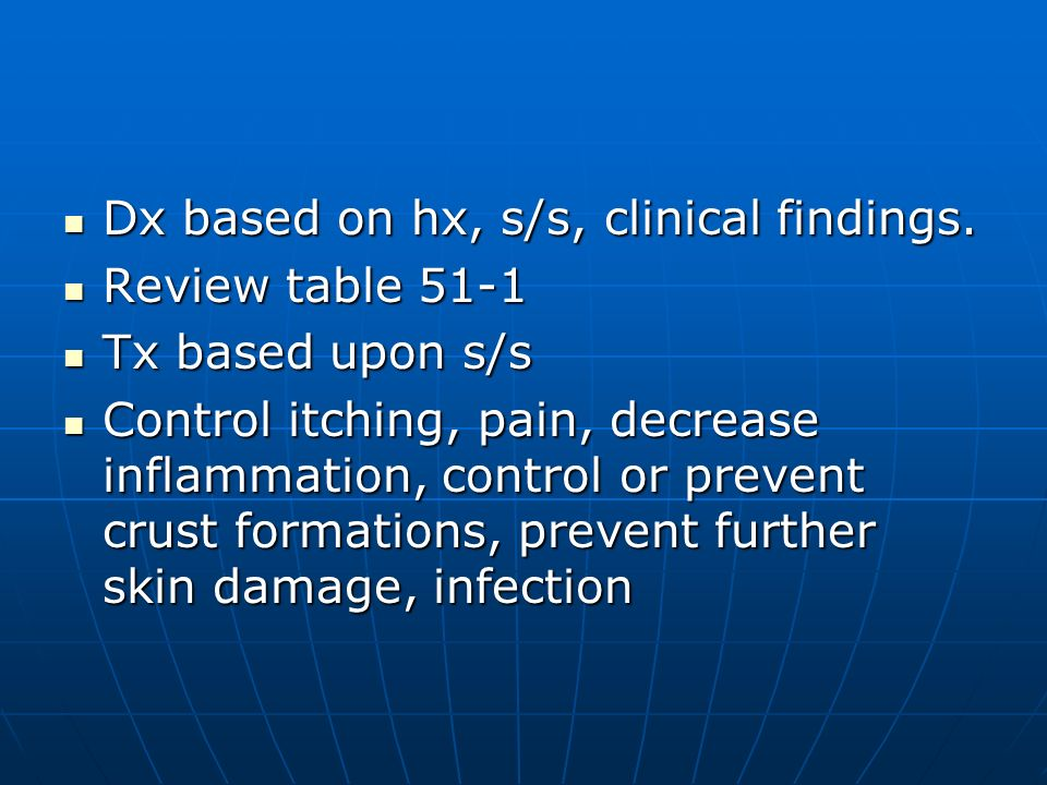 Dx based on hx, s/s, clinical findings.
