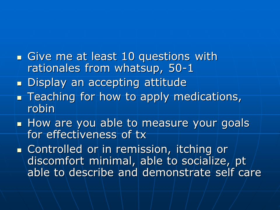 Give me at least 10 questions with rationales from whatsup, 50-1