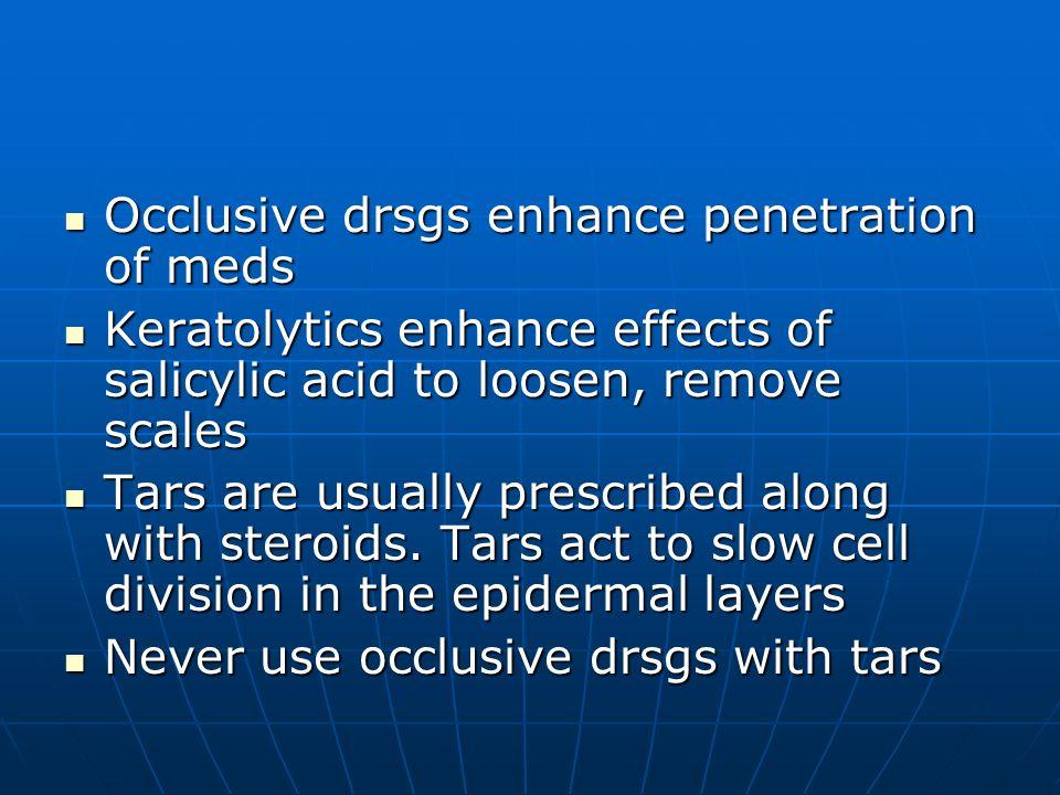 Occlusive drsgs enhance penetration of meds