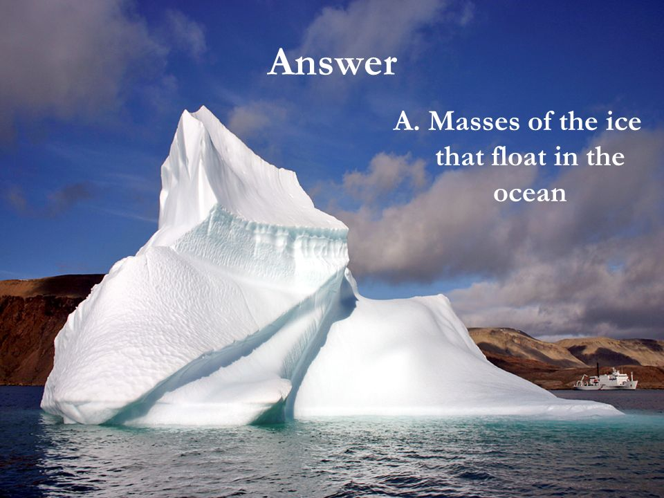 A. Masses of the ice that float in the ocean