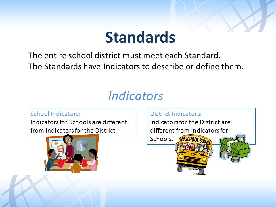 Standards The entire school district must meet each Standard. The Standards have Indicators to describe or define them.