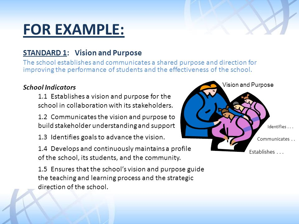 For example: STANDARD 1: Vision and Purpose