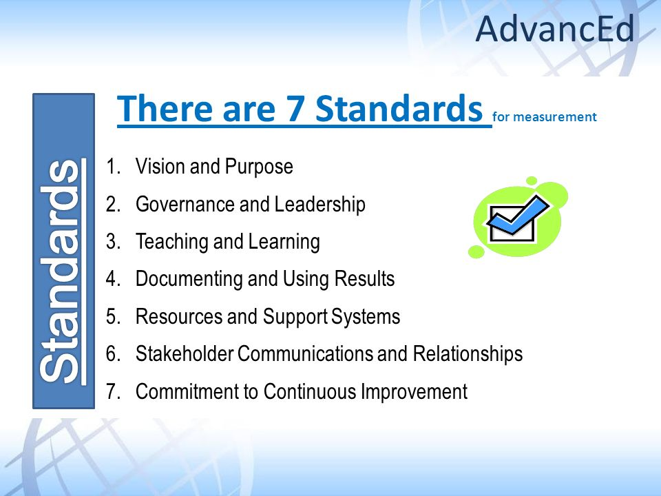 There are 7 Standards for measurement