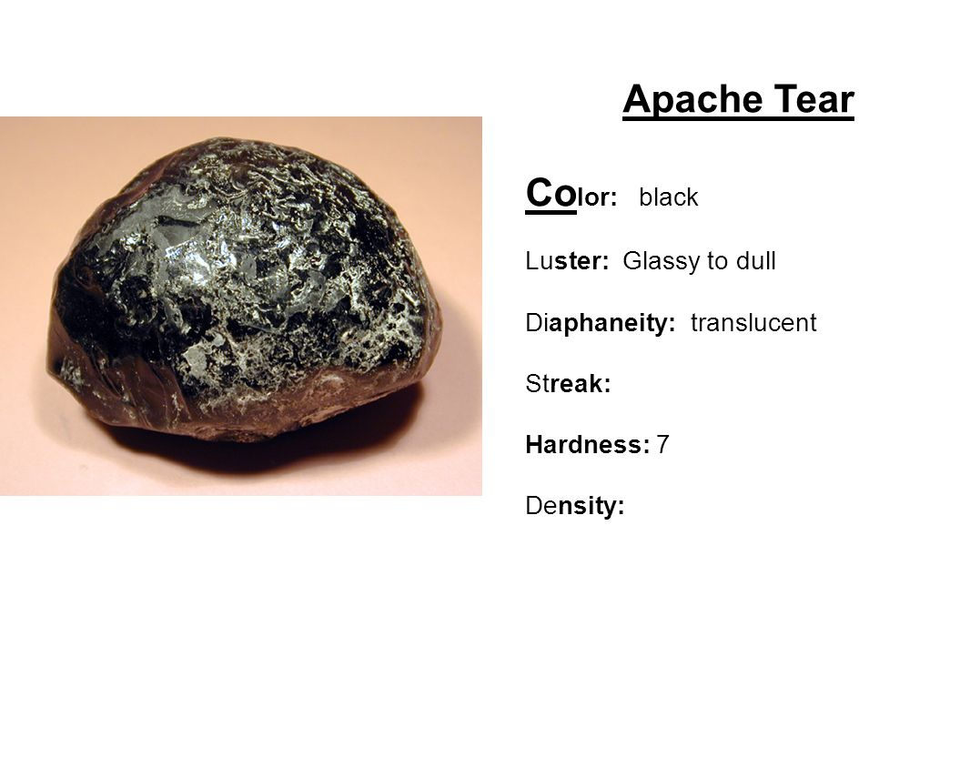Apache Tear Color: black Luster: Glassy to dull
