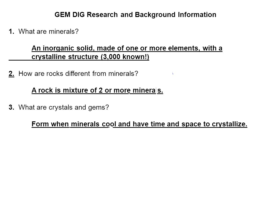 GEM DIG Research and Background Information