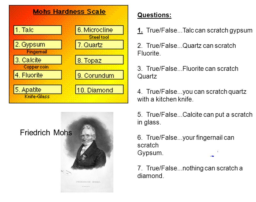 Friedrich Mohs Questions: 1. True/False...Talc can scratch gypsum