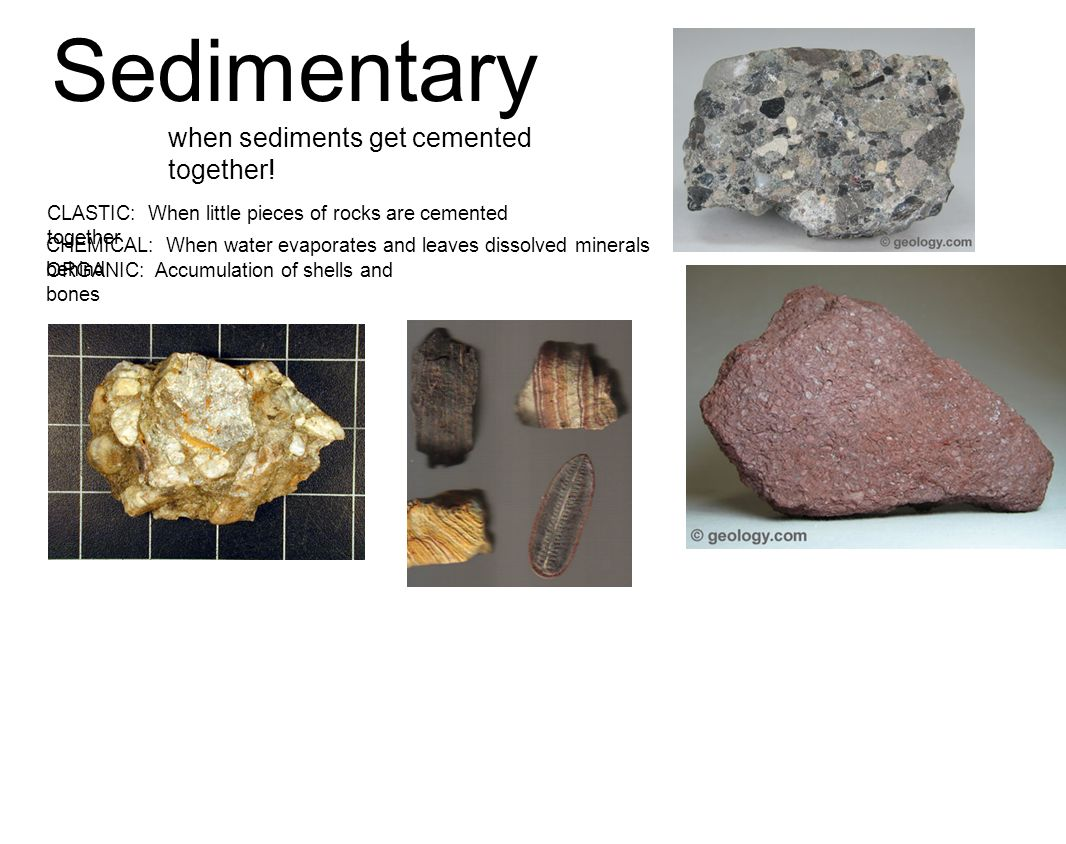 Sedimentary when sediments get cemented together!