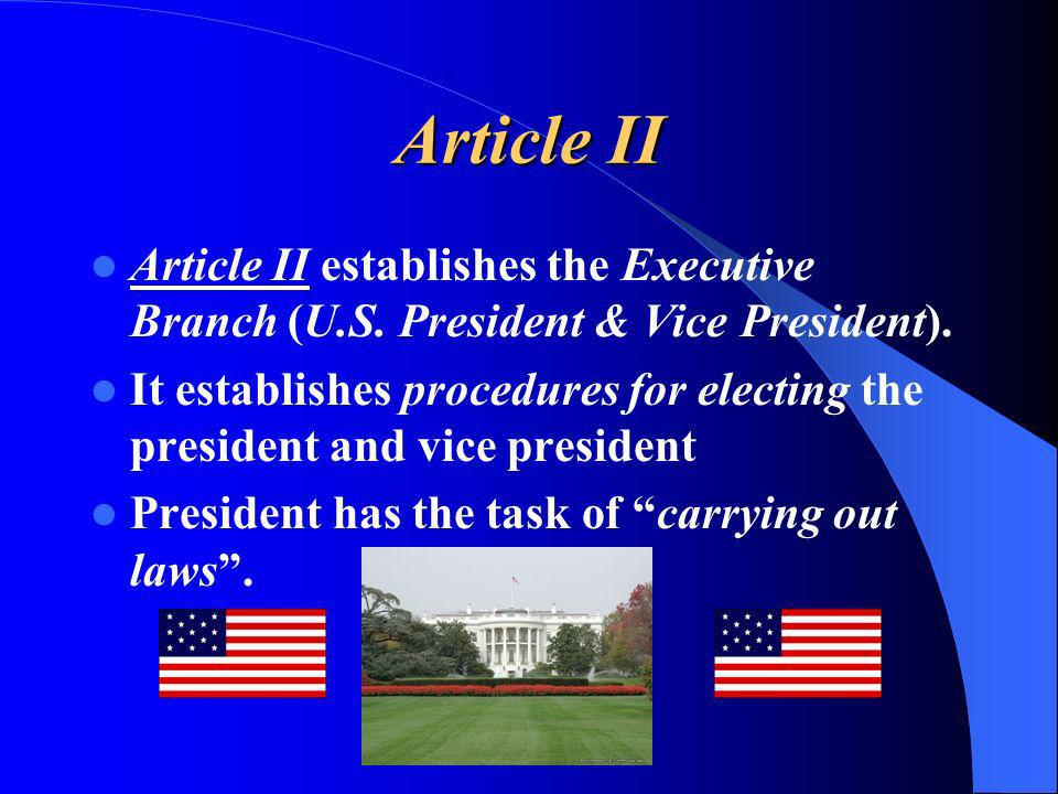 Article II Article II establishes the Executive Branch (U.S. President & Vice President).