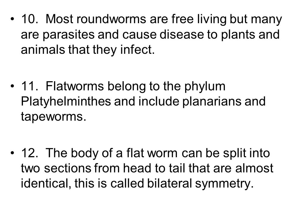 10. Most roundworms are free living but many are parasites and cause disease to plants and animals that they infect.