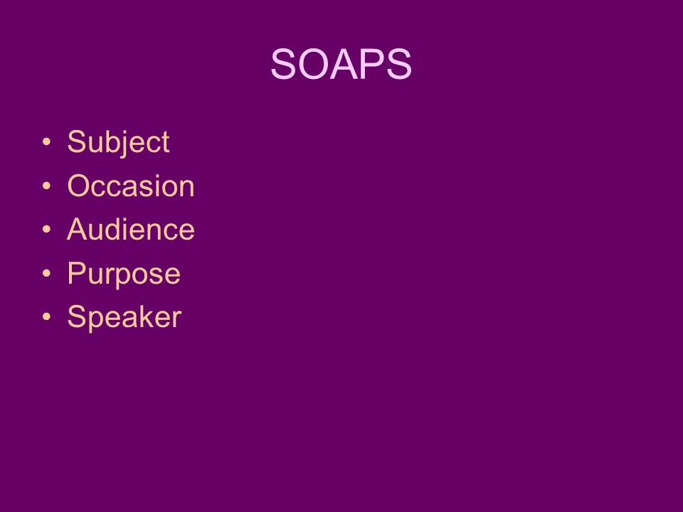 SOAPS Subject Occasion Audience Purpose Speaker
