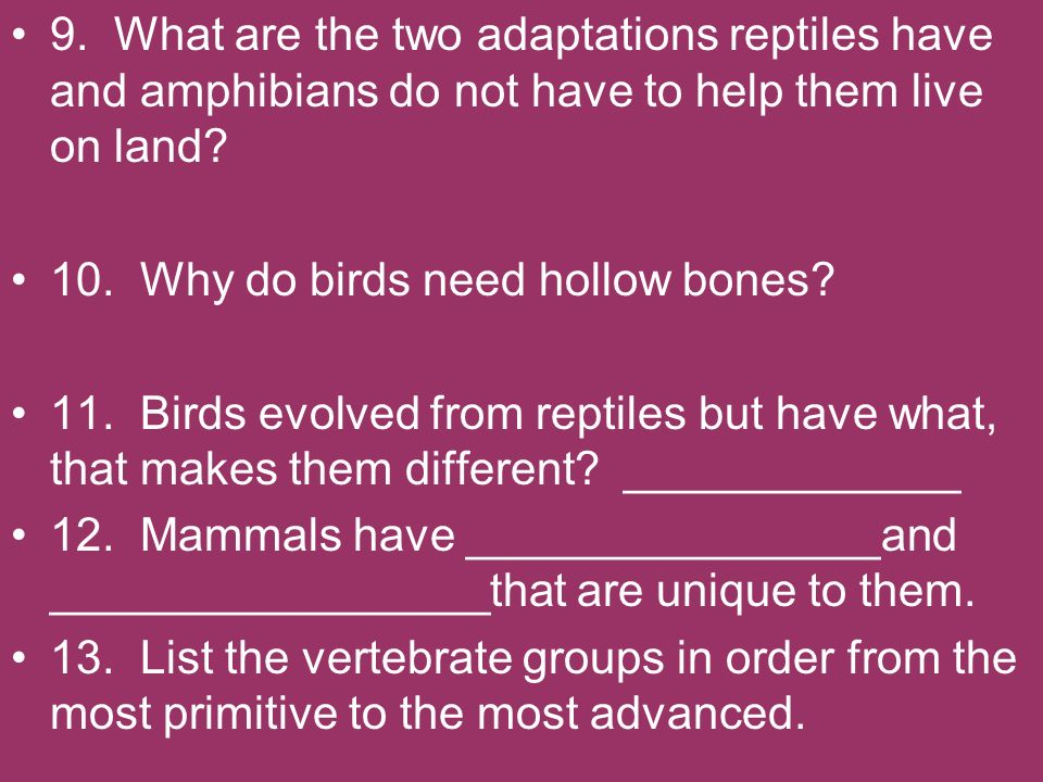 9. What are the two adaptations reptiles have and amphibians do not have to help them live on land