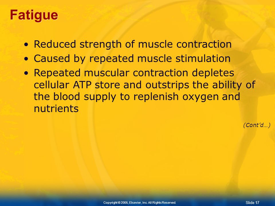 Fatigue Reduced strength of muscle contraction