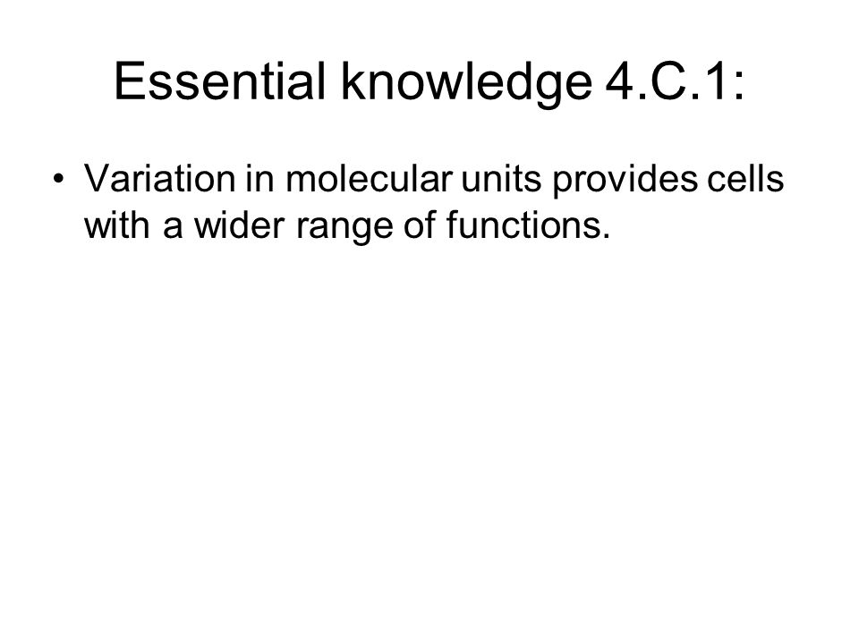 Essential knowledge 4.C.1: