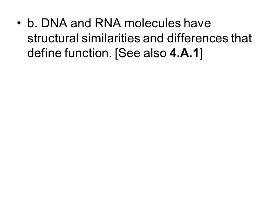 b. DNA and RNA molecules have structural similarities and differences that define function.