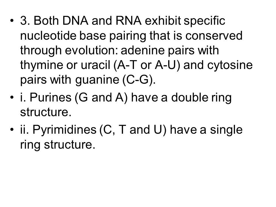 3. Both DNA and RNA exhibit specific nucleotide base pairing that is conserved through evolution: adenine pairs with thymine or uracil (A-T or A-U) and cytosine pairs with guanine (C-G).