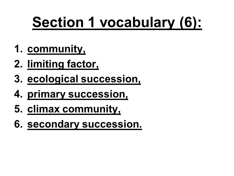 Section 1 vocabulary (6):
