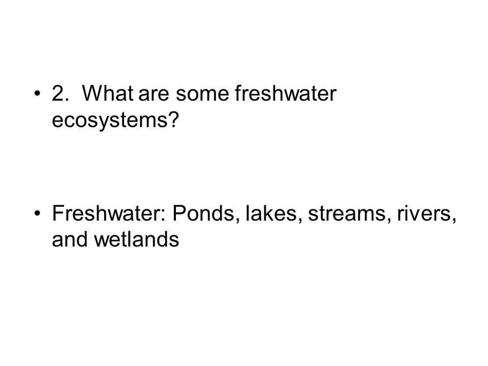 2. What are some freshwater ecosystems