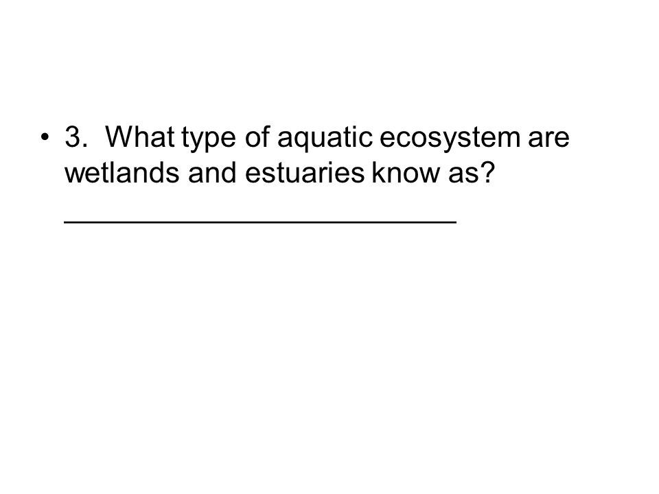 3. What type of aquatic ecosystem are wetlands and estuaries know as