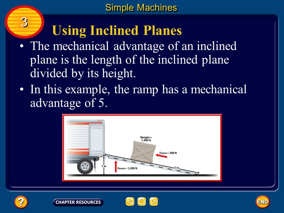 Simple Machines 3. Using Inclined Planes. The mechanical advantage of an inclined plane is the length of the inclined plane divided by its height.