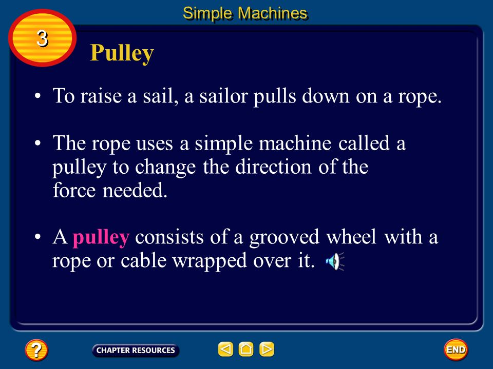 Pulley 3 To raise a sail, a sailor pulls down on a rope.