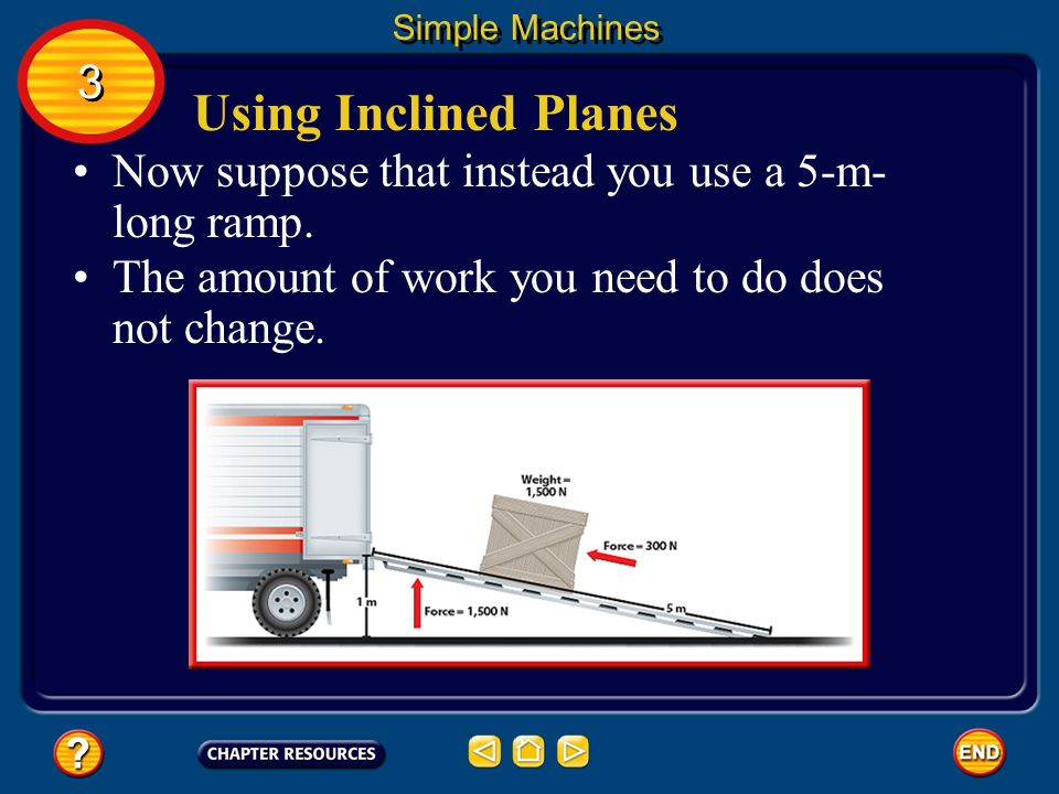 Simple Machines 3. Using Inclined Planes. Now suppose that instead you use a 5-m-long ramp.