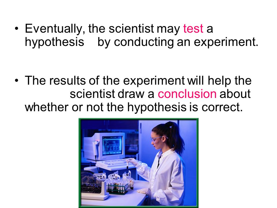 Eventually, the scientist may test a hypothesis