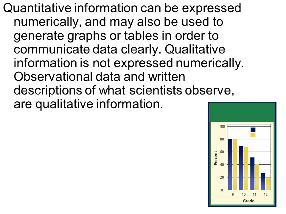 Quantitative information can be expressed numerically, and may also be used to generate graphs or tables in order to communicate data clearly.