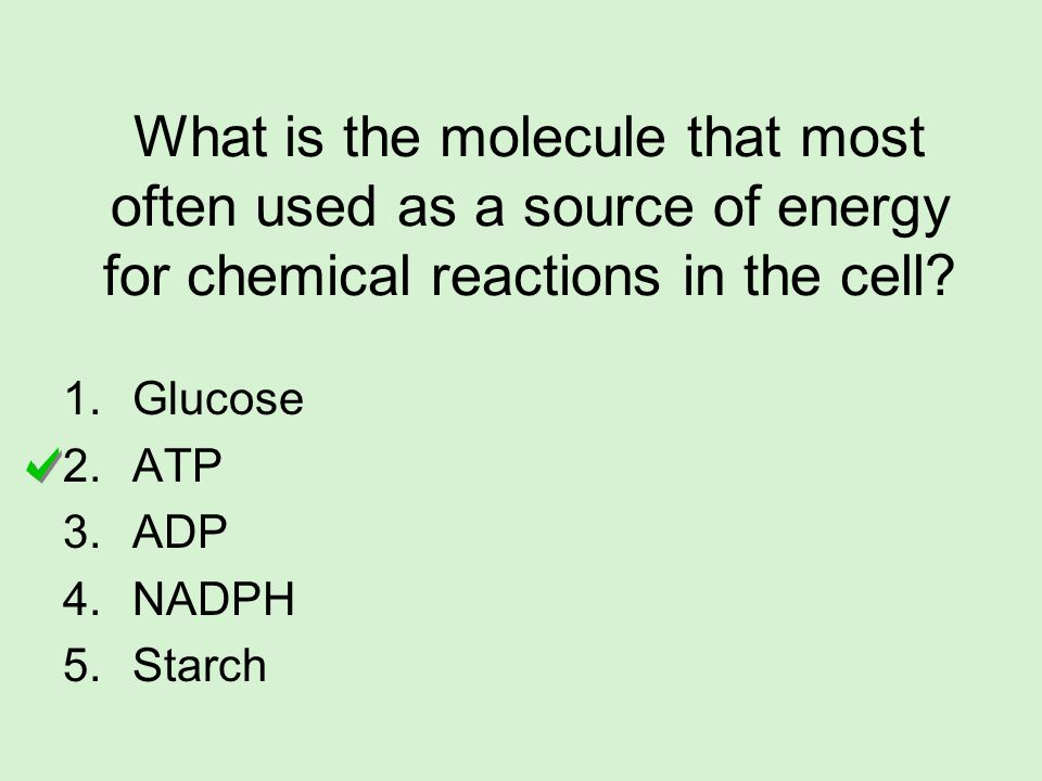 What is the molecule that most often used as a source of energy for chemical reactions in the cell