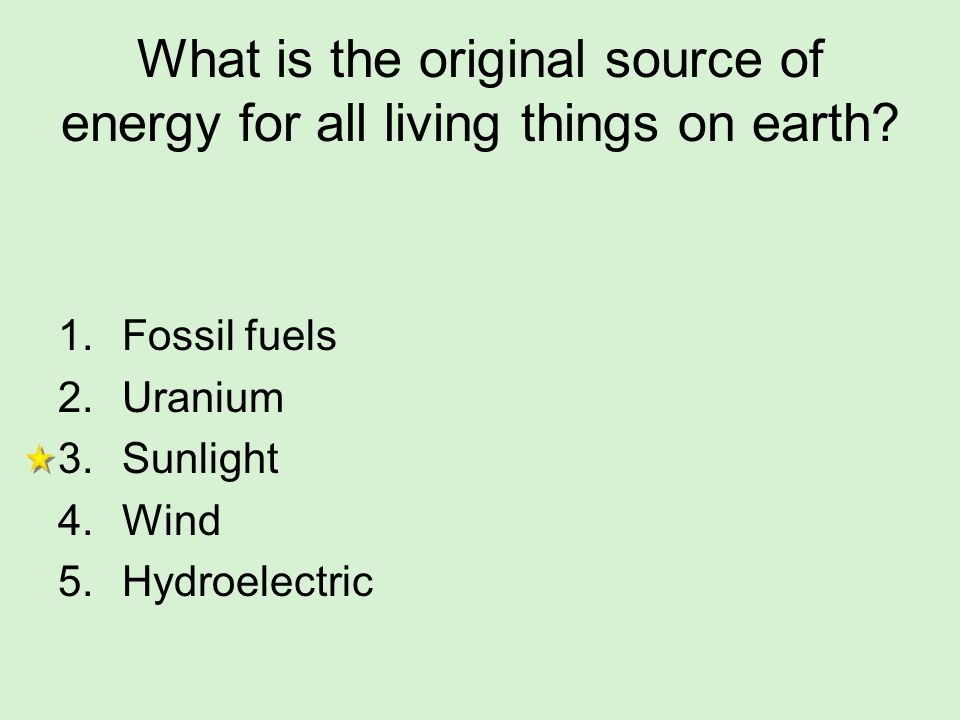 What is the original source of energy for all living things on earth
