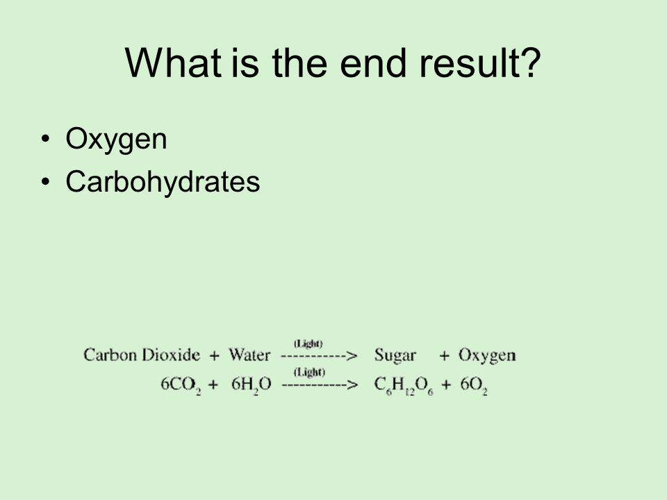 What is the end result Oxygen Carbohydrates