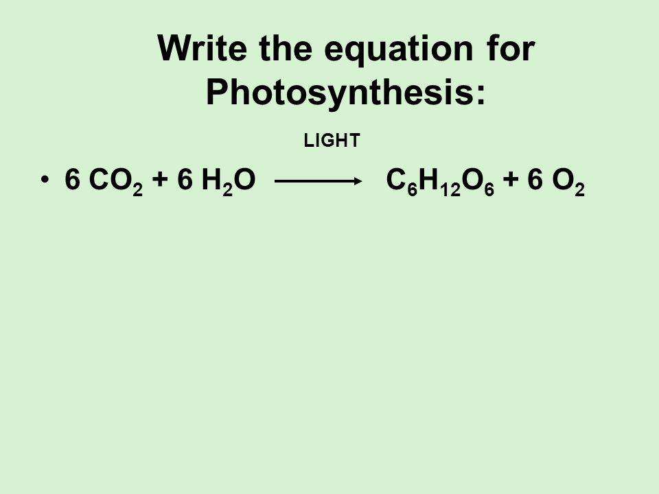 Write the equation for Photosynthesis: