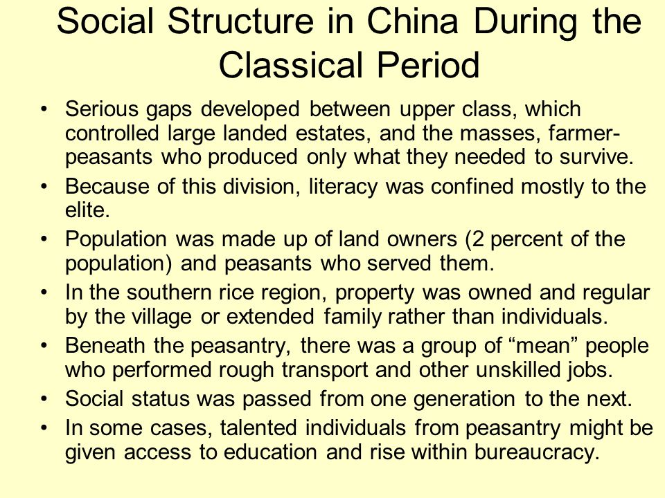 Social Structure in China During the Classical Period