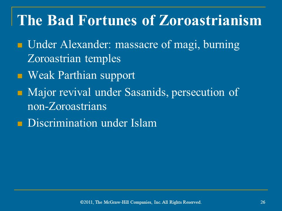 The Bad Fortunes of Zoroastrianism
