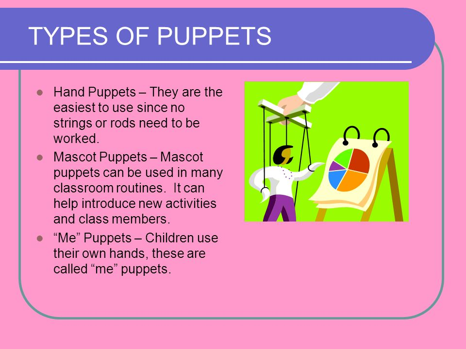 TYPES OF PUPPETS Hand Puppets – They are the easiest to use since no strings or rods need to be worked.