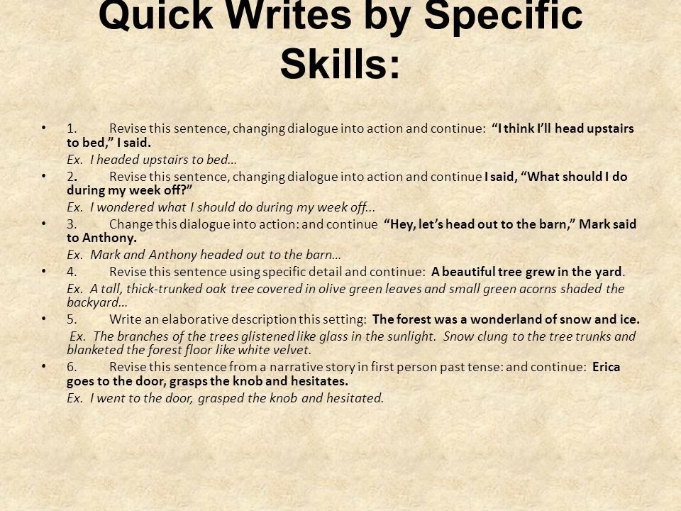 Quick Writes by Specific Skills: